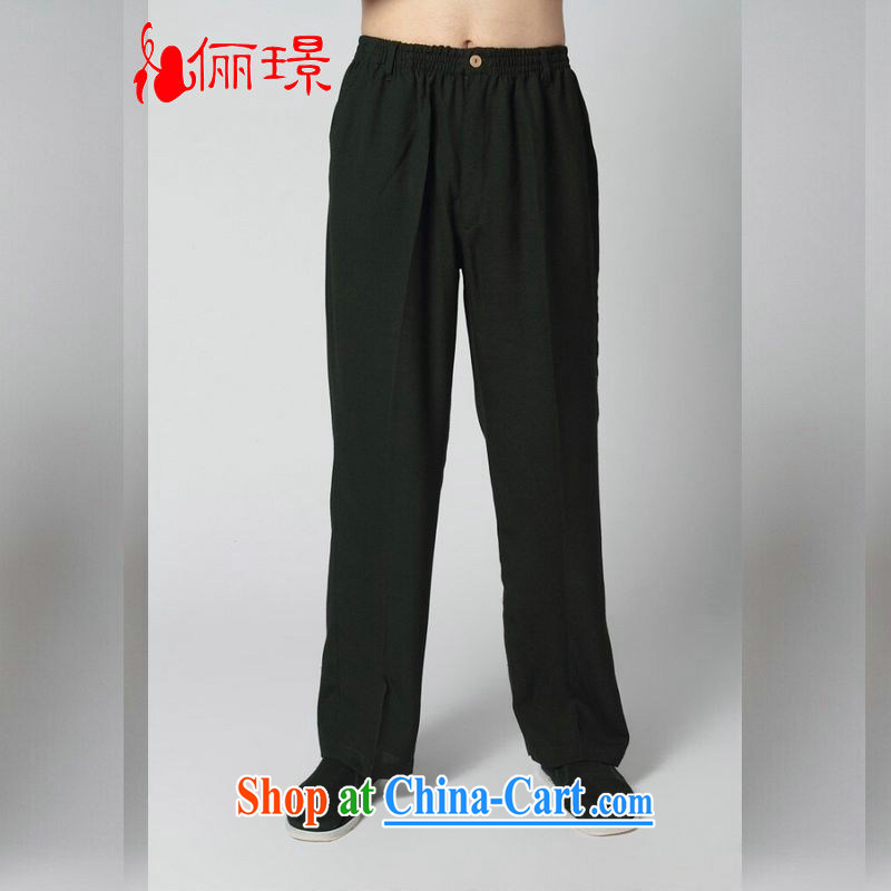 An Jing _Spring_Summer Load Tang with men's trousers Elasticated waist cotton Ma Ethnic Wind has been the trousers short pants K 2350 - 15 black pants XXL _160 - 175 _ jack