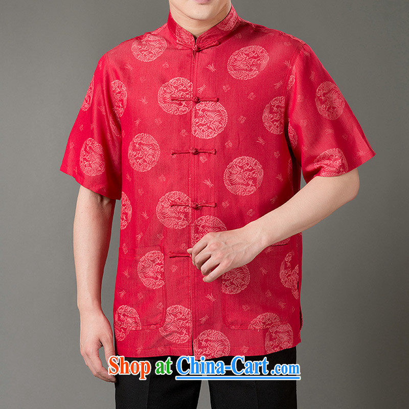 Men's Chinese Dragon Well field denim cotton casual short-sleeve T-shirt men's national air-men, for cowboy T-shirt with short sleeves China wind cowboy Cotton Men's Chinese T-shirt red XXXL_190