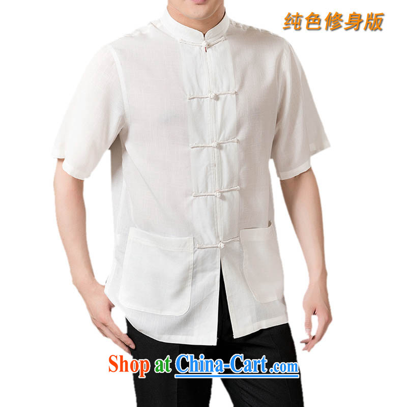 and mobile phone line, solid color Tang with ultra-comfortable cool linen men's Chinese short-sleeved summer Chinese clothing white L_175