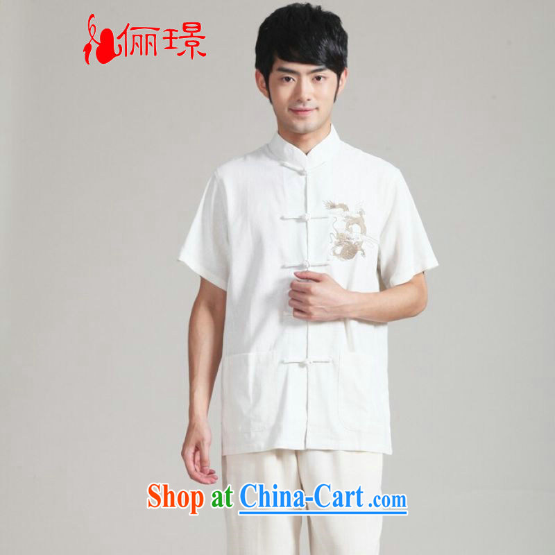 Jing An older Chinese men and summer, cotton for the embroidered dragon Chinese wind smock Chinese men short-sleeve larger male 2999 - 3 white XXXL (180 - 210 jack