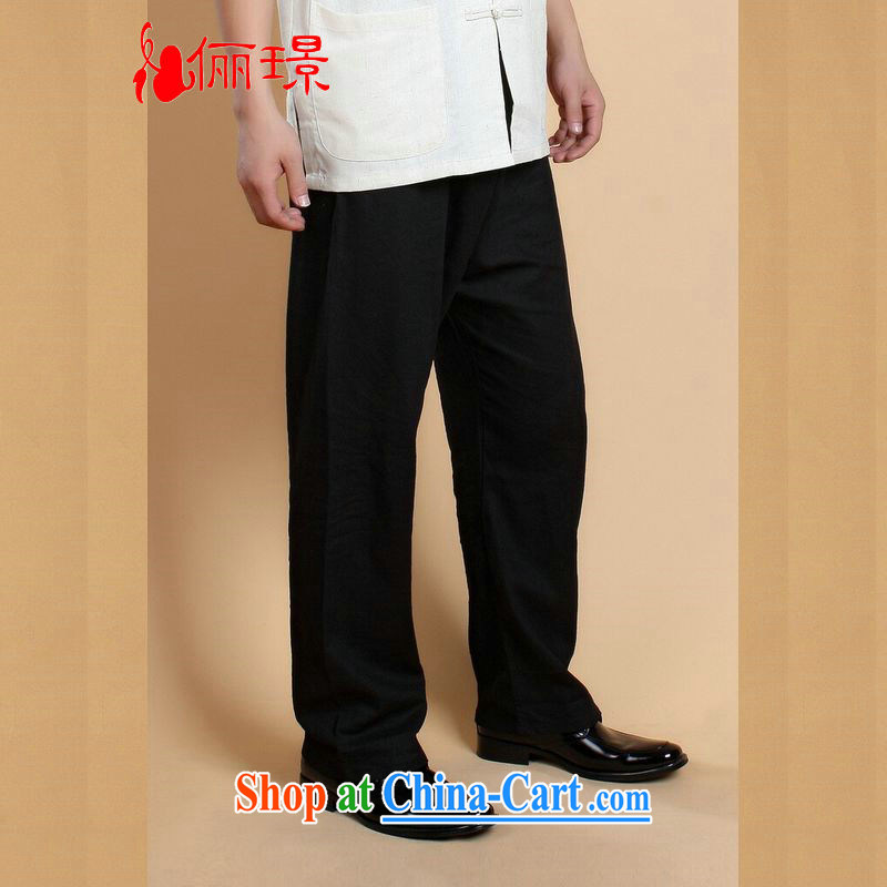An Jing (Spring/Summer Load Tang with men's trousers Elasticated waist cotton Ma Ethnic Wind has been the trousers short pants 0820 - 5 black L (125 - 140 ) jack