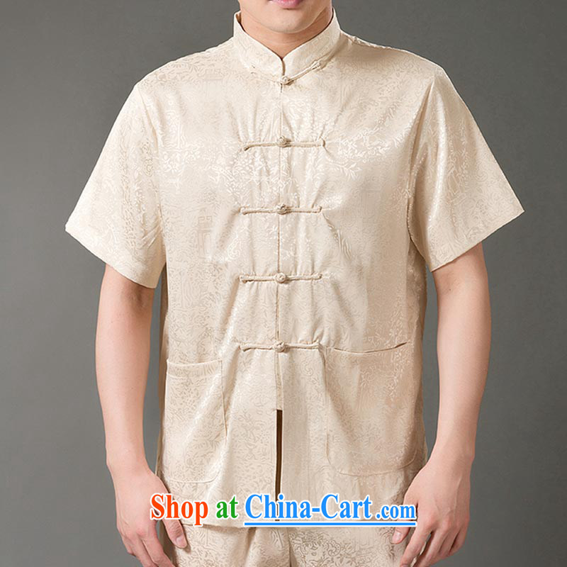 and mobile phone line China wind older landscape men's short-sleeved Kit ethnic wind Chinese short-sleeve package cynosure serving morning Tai Chi practice short-sleeve kit beige XXXL/190