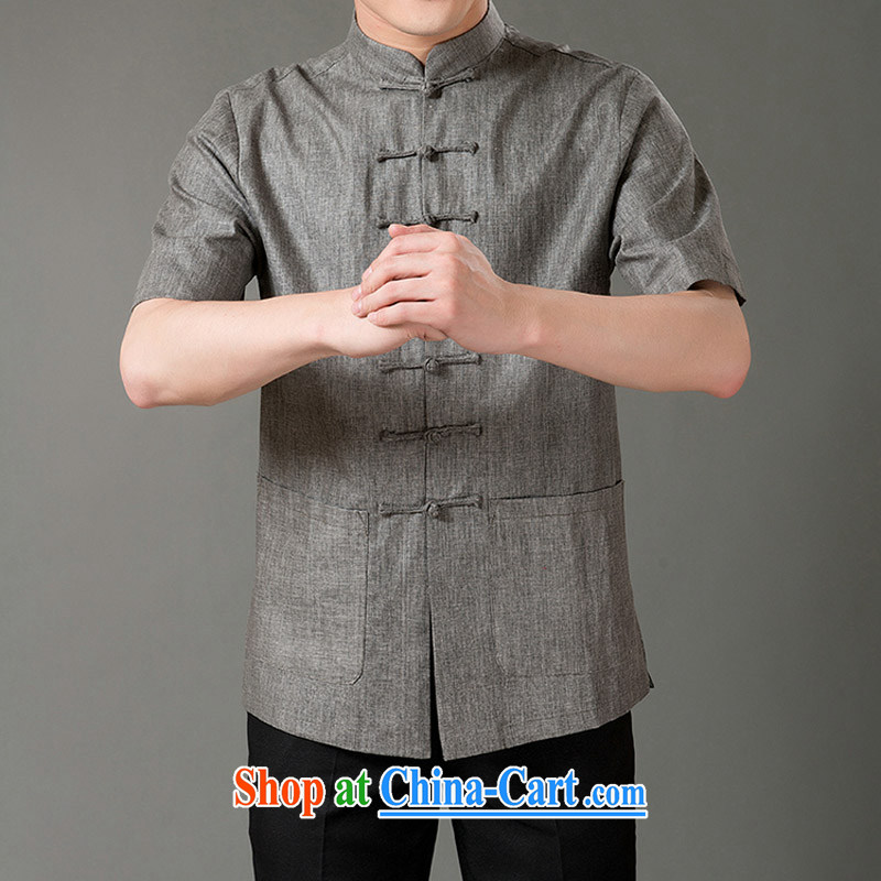 and mobile phone line new, genuine male Chinese Tang with stylish 7 tie linen half sleeve in the older Chinese short-sleeve gray XL_180
