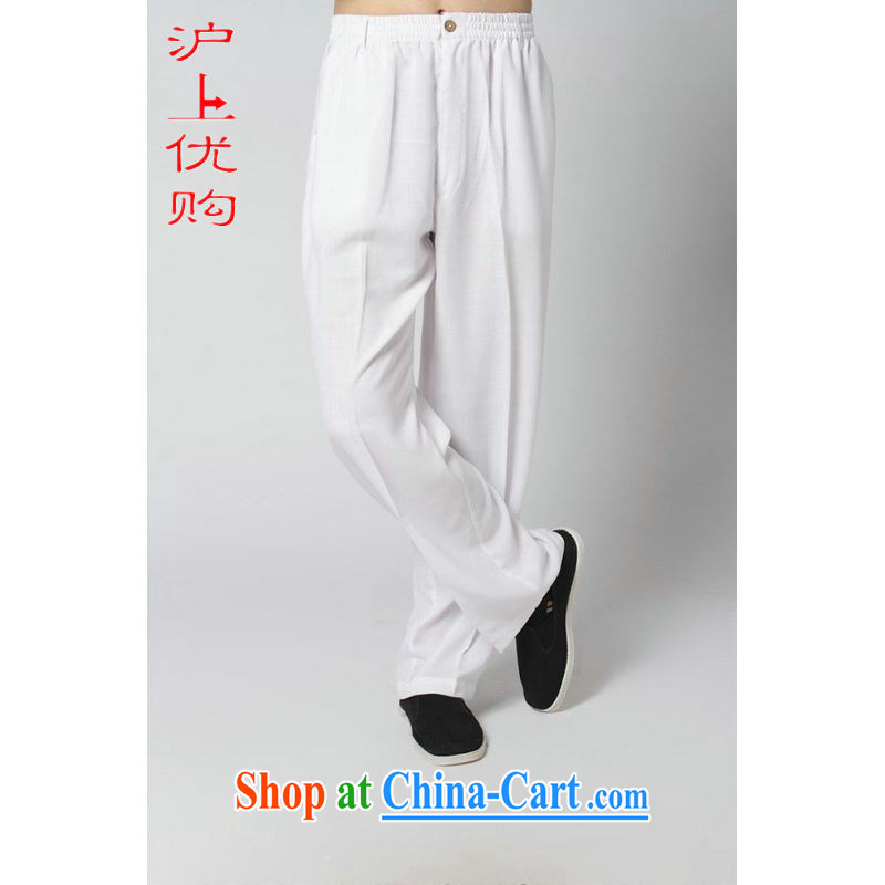 Shanghai, optimize the purchase older pants men and summer wear elastic waist cotton Ma ethnic wind father replace summer short pants pants 2 - 8 white pants XXXL recommendations 180 - 195 jack
