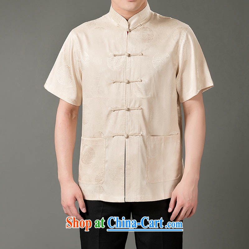 and mobile phone line summer men's Chinese T-shirt with short sleeves, older Chinese men and Chinese casual dress and beige XL/180