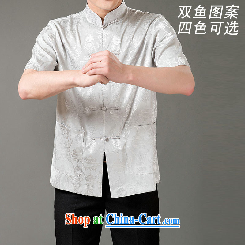 and mobile phone line the short double-fish short-sleeved T-shirt, coming summer, for men emulation, Tang is a short-sleeved T-shirt Ethnic Wind men's emulation, short-sleeved T-shirt gray XXXL_190