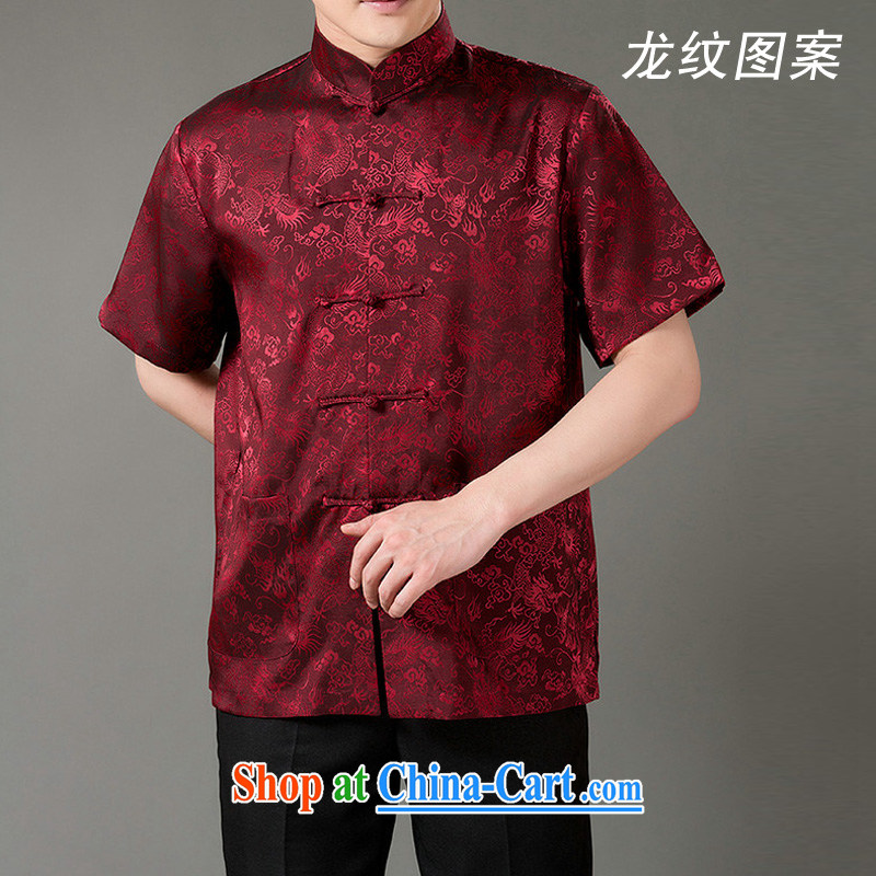 and mobile phone line summer wear new t-shirt classic national costume cool emulation, the older men's short-sleeved Chinese wine red L/175
