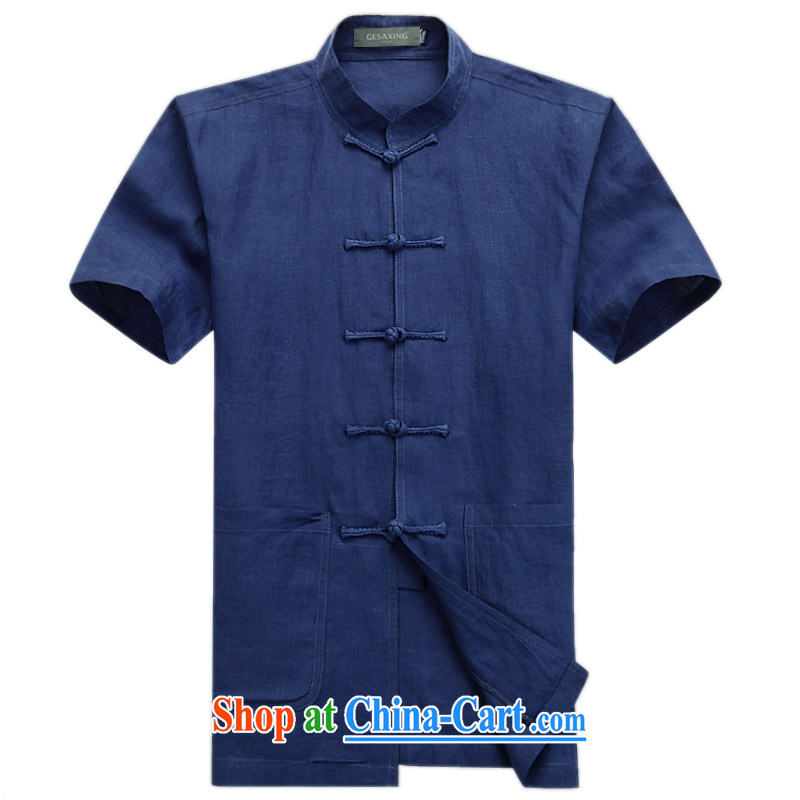 and mobile phone line with the Chinese government for national wind linen short sleeve T-shirt High Quality Fine ramie Chinese T-shirt dark blue XXXL_190