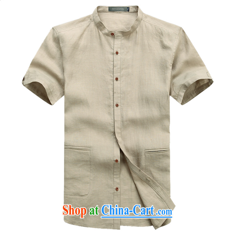 and Mobile Phone Line New Products Chinese Summer Load ramie linen beauty trends men shirts men's T-shirt beige XXXL_190
