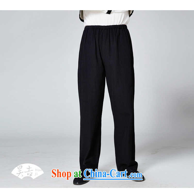 Hao, 2014 new summer older men short pants plain manual old dad napped with long pants black 190