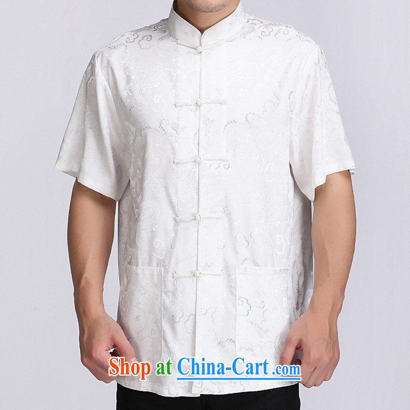 and mobile phone line and summer auspicious cloud men's short-sleeved T-shirt China wind men, short-sleeved T-shirt exclusive and comfortable auspicious cloud short-sleeved Chinese White XXXL/190