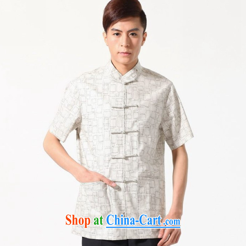 Floor is floor middle-aged men's new summer new short-sleeved Chinese Chinese improved smock men, cotton for the short-sleeved shirt M 0054 white XXXL