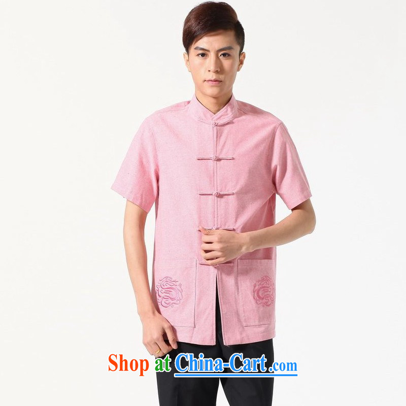 Floor is floor men's new summer short-sleeved T-shirt plain color for Chinese improved middle-aged men's large, embroidered Chinese shirt pink XXXL