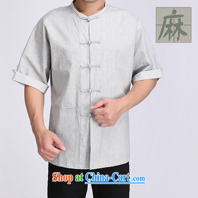 and mobile phone line Chinese New Chinese Han-man Tang is a short-sleeved dress linen and stylish improved Tang uniform gray XXXL_190
