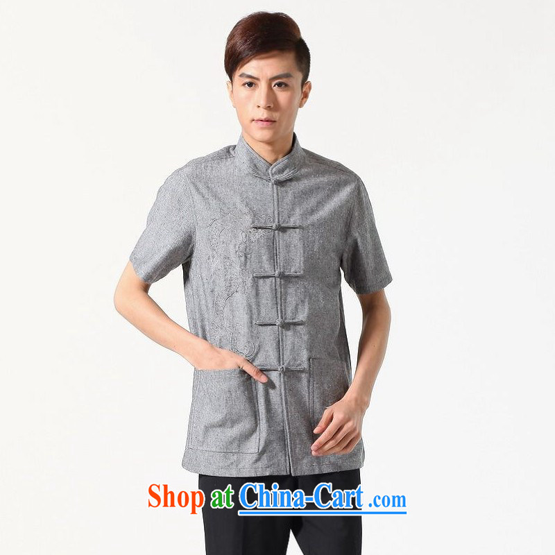 Floor is floor men's new summer short-sleeve and collar embroidered tray snaps Chinese improved the code Chinese shirt and smock-A dark gray XXXL