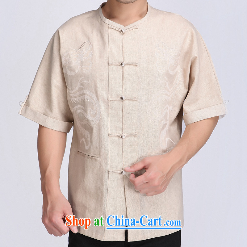 and mobile phone line, male, short-sleeved summer ethnic Chinese wind embroidery Dragon breathable linen Chinese T-shirt m White XXXL/190