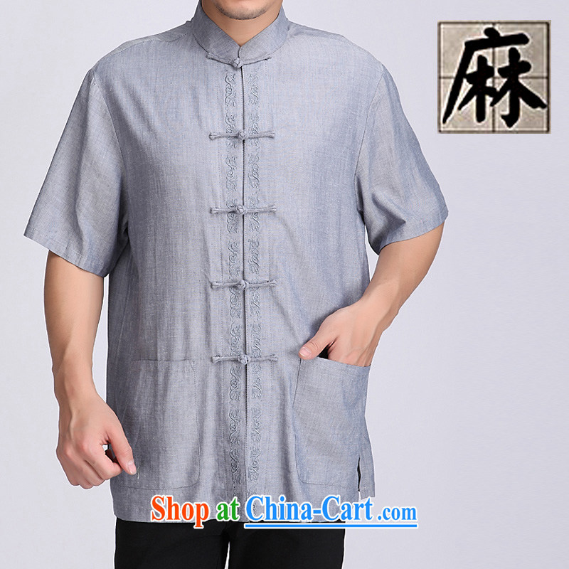 Summer is for men's cotton Ma T-shirt with short sleeves shirt Ethnic Wind men's Chinese, for the charge-back cotton mA short-sleeved, older units the short-sleeved T-shirt relaxed comfortable father with blue-gray XXXL/190
