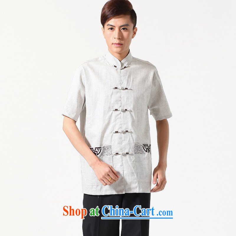 Floor is floor middle-aged men's new summer, short-sleeved embroidered large code Chinese improved Chinese male - A gray XXXL