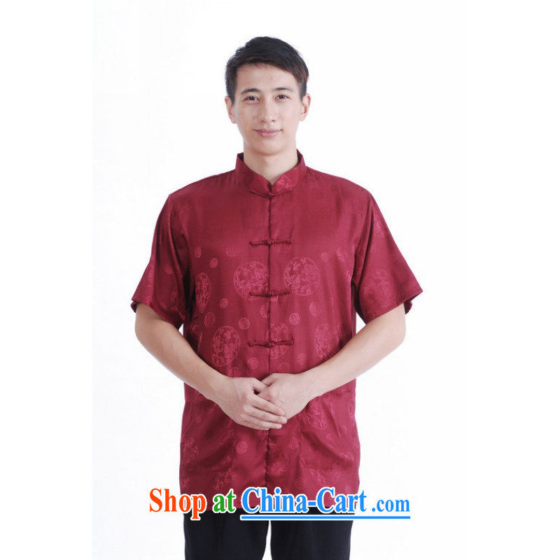 Floor is floor middle-aged father with new summer men, for the charge-back short-sleeved Chinese improved the code Chinese shirt and burgundy XXXL