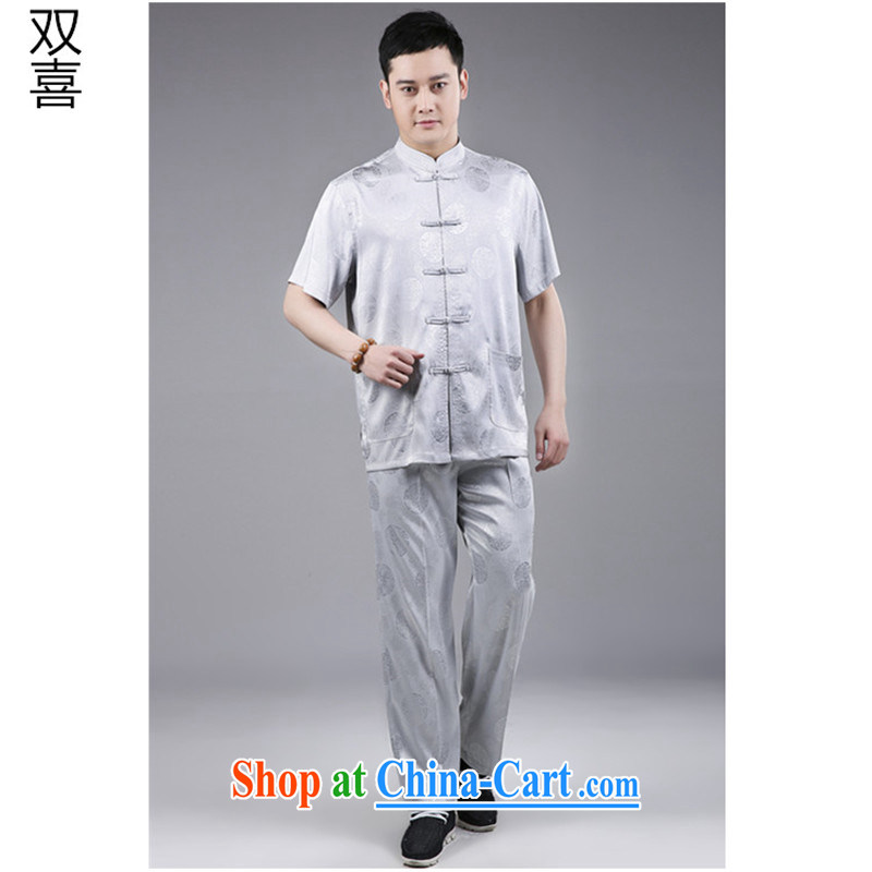 Tang is the 2015 men's package? national costume Tang replace older package men and white Chinese silk summer short sleeve with light gray 185