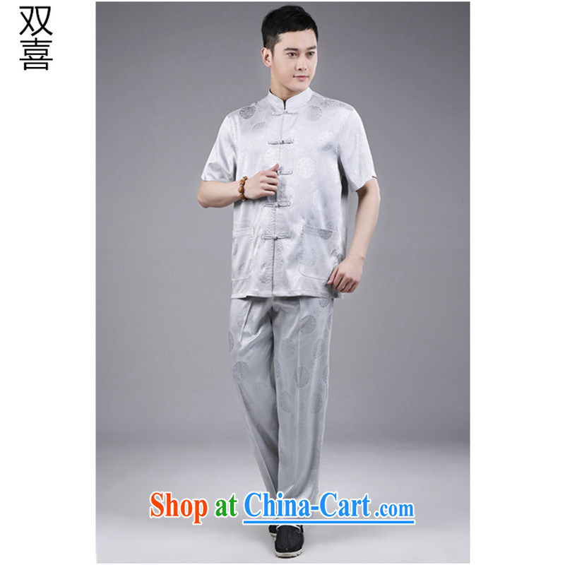 Summer short set in 2015, Chinese wind-back national service short-sleeve kit, older Chinese Kit light gray 185