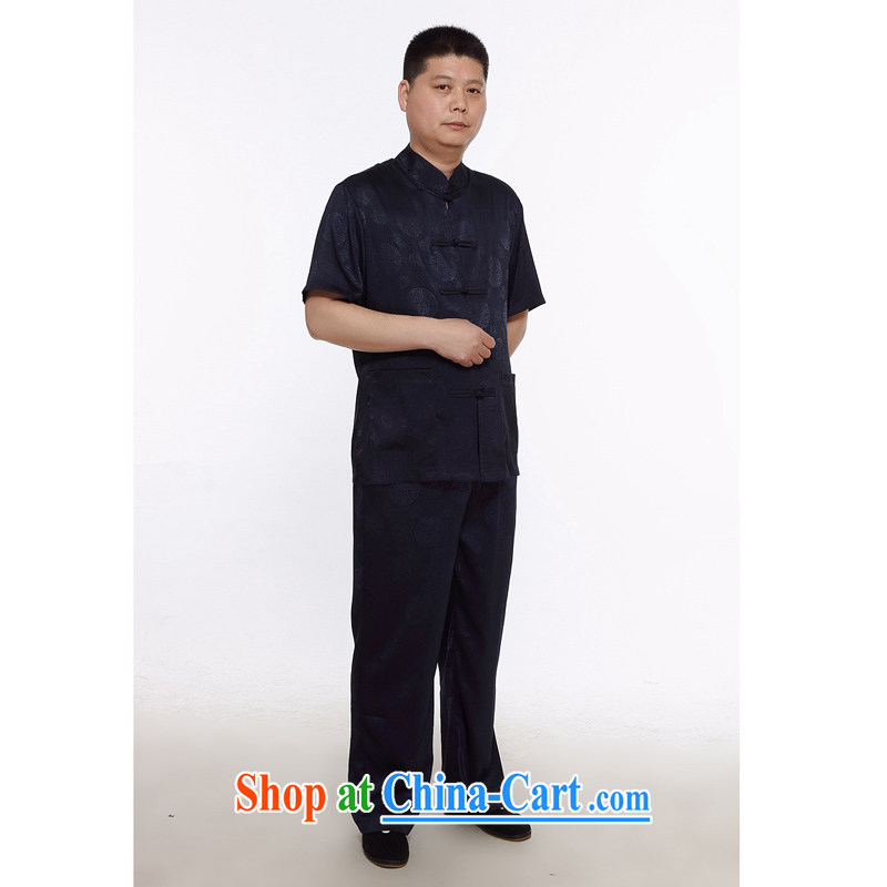 The chestnut mouse men Chinese men and set short-sleeve middle-aged and older Chinese men and Summer Package old Tang package black 175_2 XL
