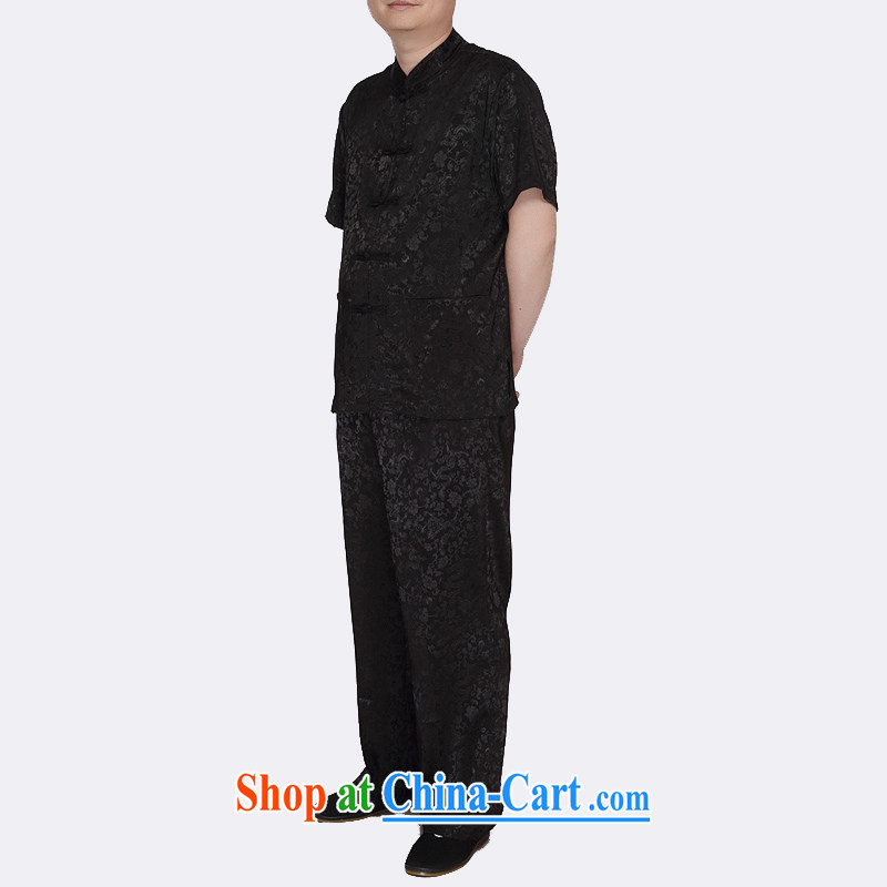The chestnut mouse new, elderly in summer wear men Tang replace short-sleeved Kit XL national costume black 175_2 XL