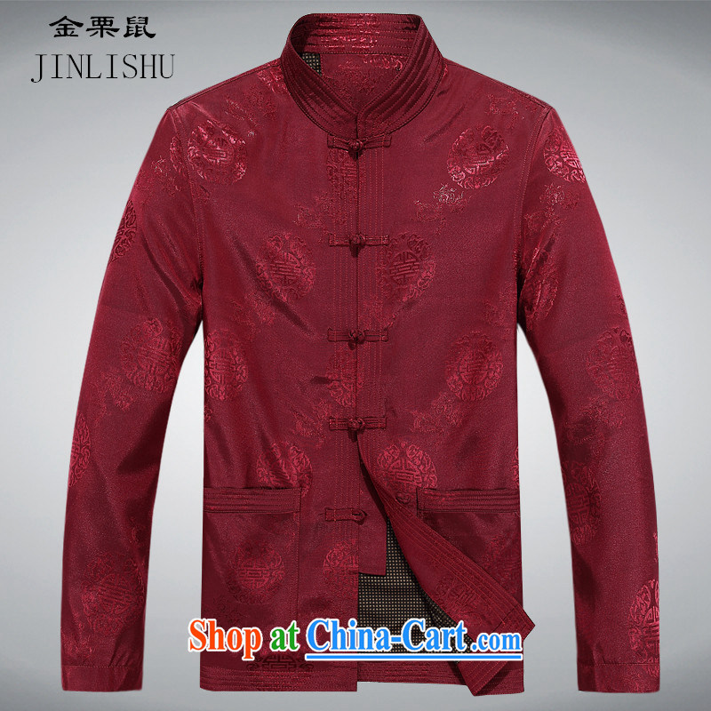 The chestnut mouse Tang fitted jacket with autumn Men_older_people Chinese men and long-sleeved T-shirt men's spring men's Tang red Shuangxi Tang fitted jacket red M_170