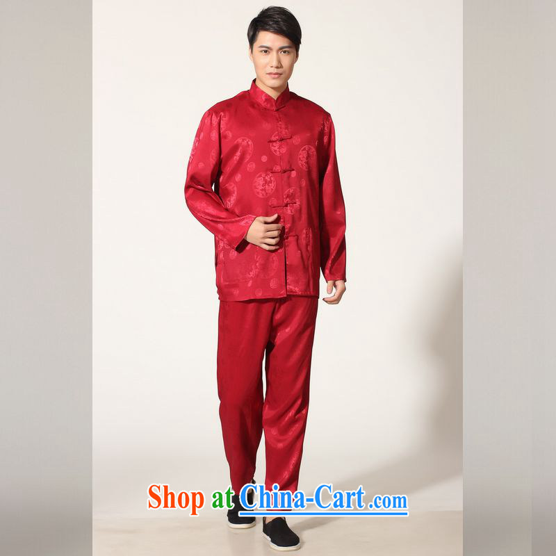 Jing An older Chinese men's spring and summer, for silk long-sleeved Kit Chinese men kung fu Kit Tai Chi uniforms M 0050 - C wine red M _100 - 120 _ jack