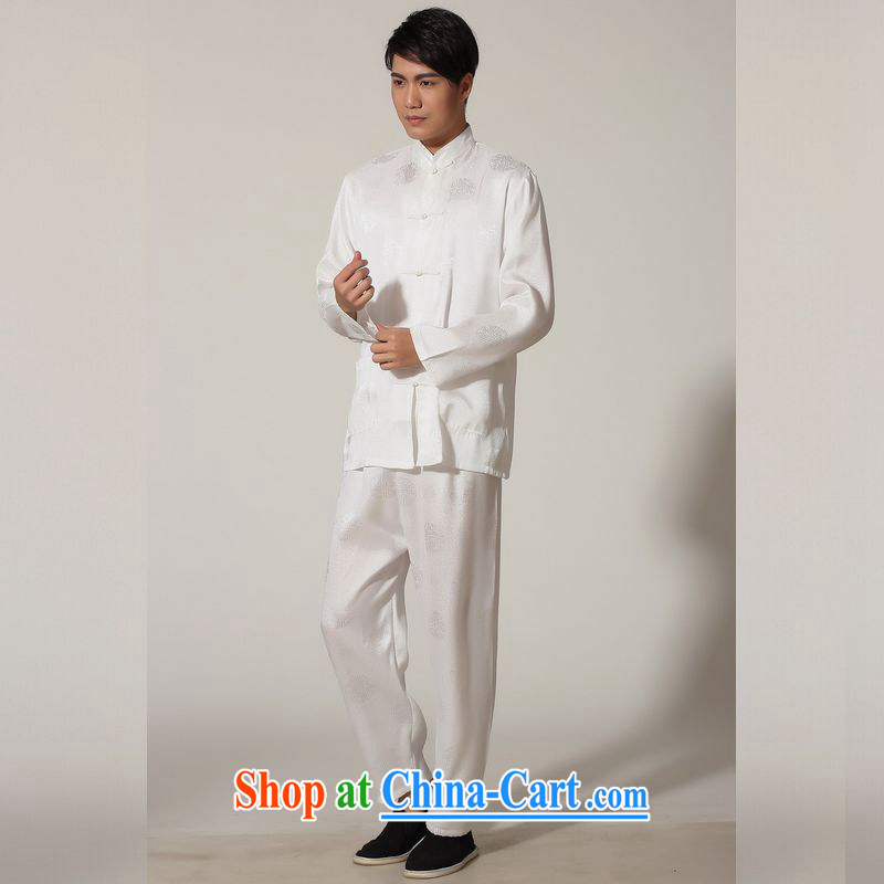 Jing An older Chinese men's spring and summer, for silk long-sleeved Kit Chinese men kung fu Kit Tai Chi uniforms M 0049 white 3XL _recommendations 180 - 210 jack_