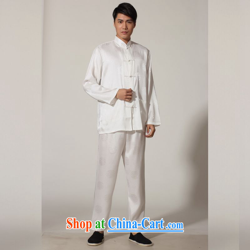 Miss Au resulted in older Chinese men and spring and summer, for silk long-sleeved Kit Chinese men kung fu Kit Tai Chi uniforms M 0049 white 3XL (recommendations 180 - 210 jack), an Jing, shopping on the Internet