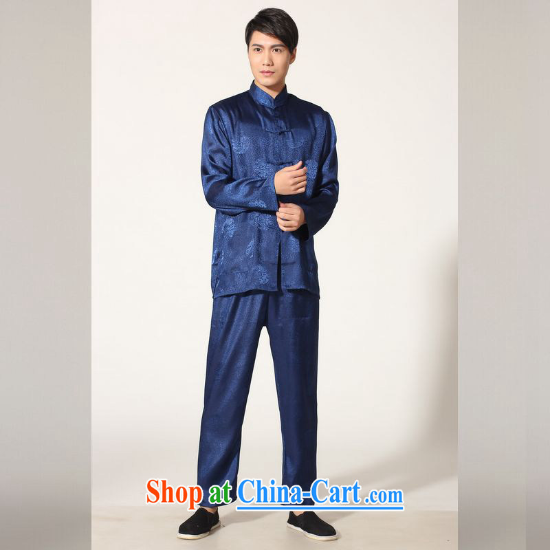 Jing An older Chinese men's spring and summer, for silk long-sleeved Kit Chinese men kung fu Kit Tai Chi uniforms M 0049 - B the cyan L (recommended 125 - 140 jack)