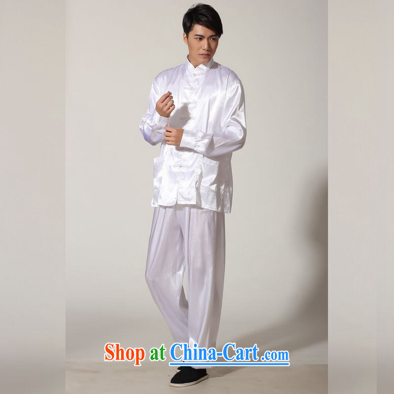 Jing An older Chinese men's spring and summer, for silk long-sleeved Kit Chinese men kung fu Kit Tai Chi uniforms M 0048 white XXL _160 - 185 _ jack
