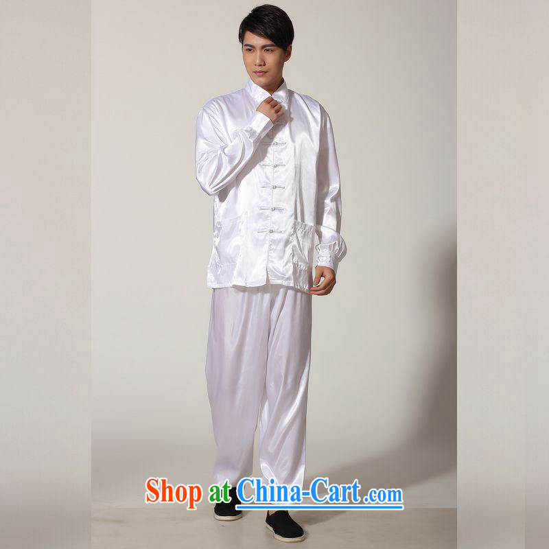 Miss Au resulted in older Chinese men and spring and summer, for silk long-sleeved Kit Chinese men kung fu Kit Tai Chi uniforms M 0048 white XXL (recommendation 160 - 185 jack), an Jing, shopping on the Internet