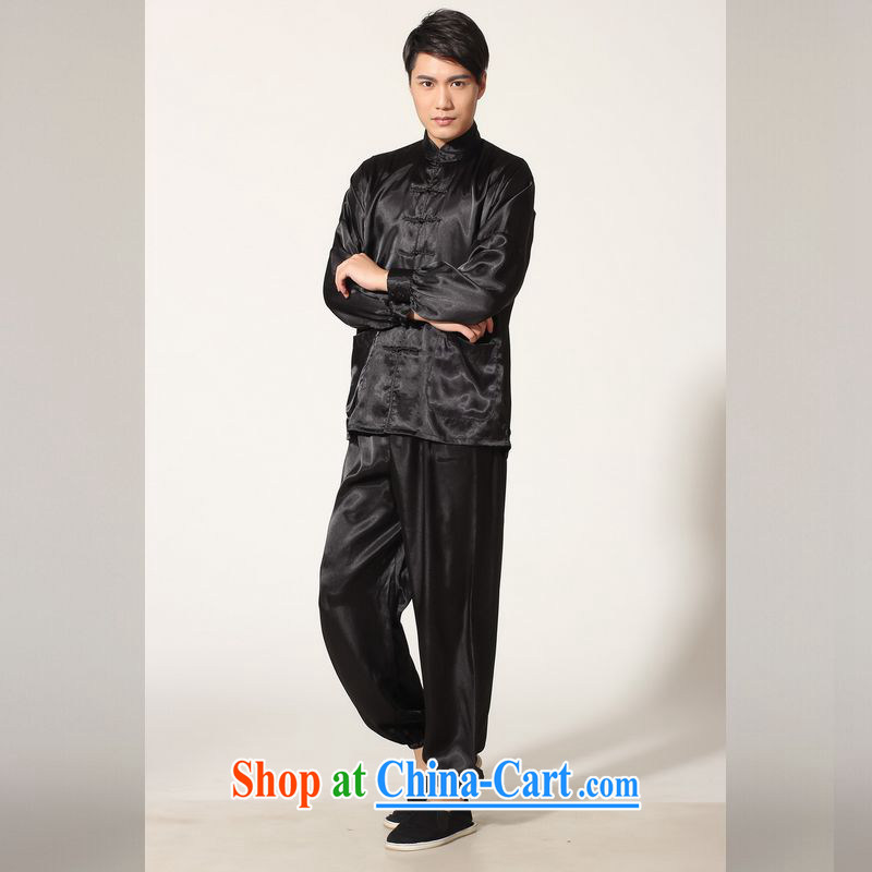 Jing An older Chinese men's spring and summer, for silk long-sleeved Kit Chinese men kung fu Kit Tai Chi uniforms M 0048 - A black M _100 - 120 _ jack