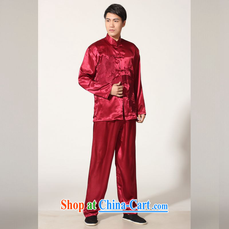 Jing An older Chinese men and summer, for silk embroidered Chinese Dragon Chinese men's long-sleeved package the code men's kung fu Kit XL M 146 0013 wine red M (100 - 120 ) jack, an Jing, shopping on the Internet