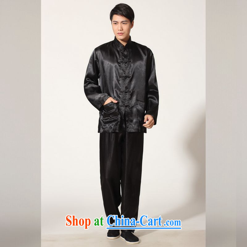 Jing An older Chinese men's spring and summer, for silk long-sleeved Kit Chinese men kung fu Kit Tai Chi uniforms QB M 146 3010 black XXL (recommendations 180 - 210 jack)
