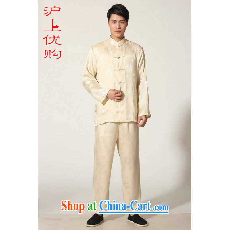 Shanghai, optimize purchase middle-aged and older Chinese men and summer, for silk men's long-sleeved package the code men's kung fu Package - D gold XXXL