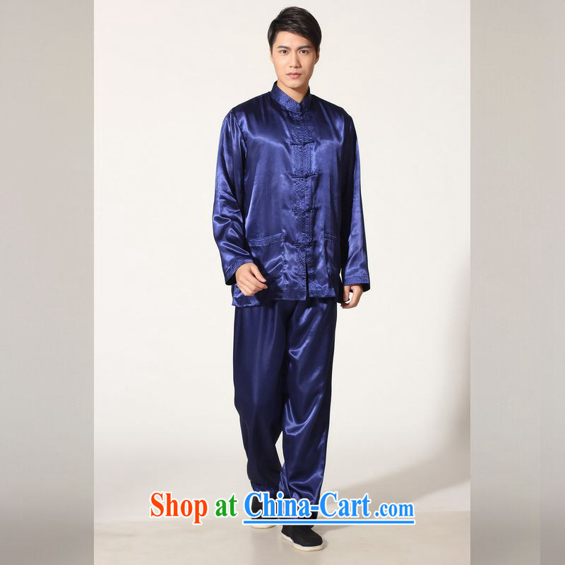 Jing An older Chinese men's spring and summer, for silk long-sleeved Kit Chinese men kung fu Kit Tai Chi uniforms QB M 146 3012, Cyan XXL (recommendation 180 - 210 jack)