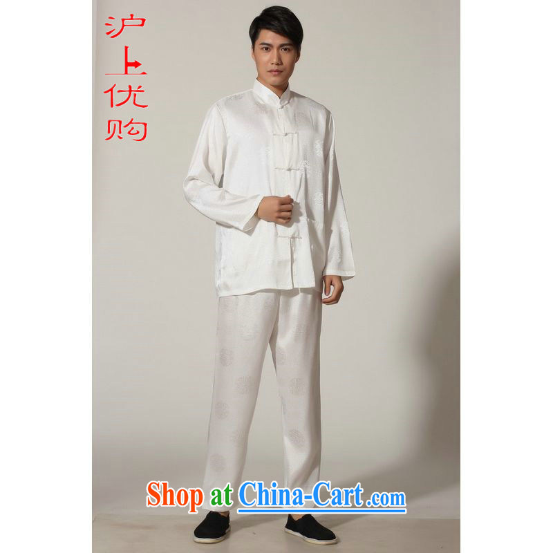 Shanghai, optimize purchase middle-aged and older Chinese men and spring and summer, for silk long-sleeved Kit Chinese men Kung Fu Kit Tai Chi uniforms M 0049 white XXL recommendations 180 - 210 jack