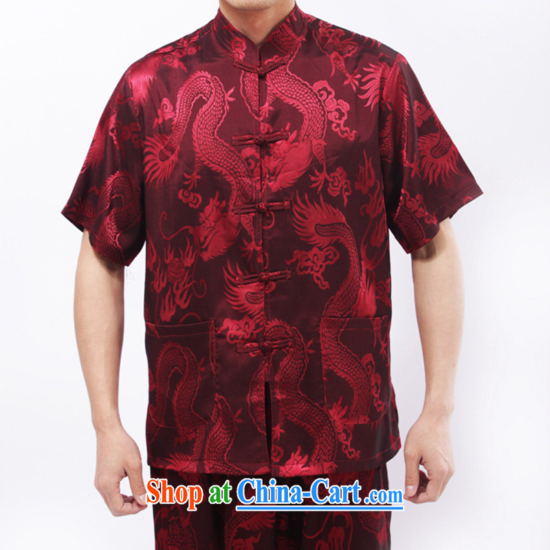 and mobile phone line summer men's Tang in older men and short sleeve with the Code old men big dragon Chinese summer red M/170