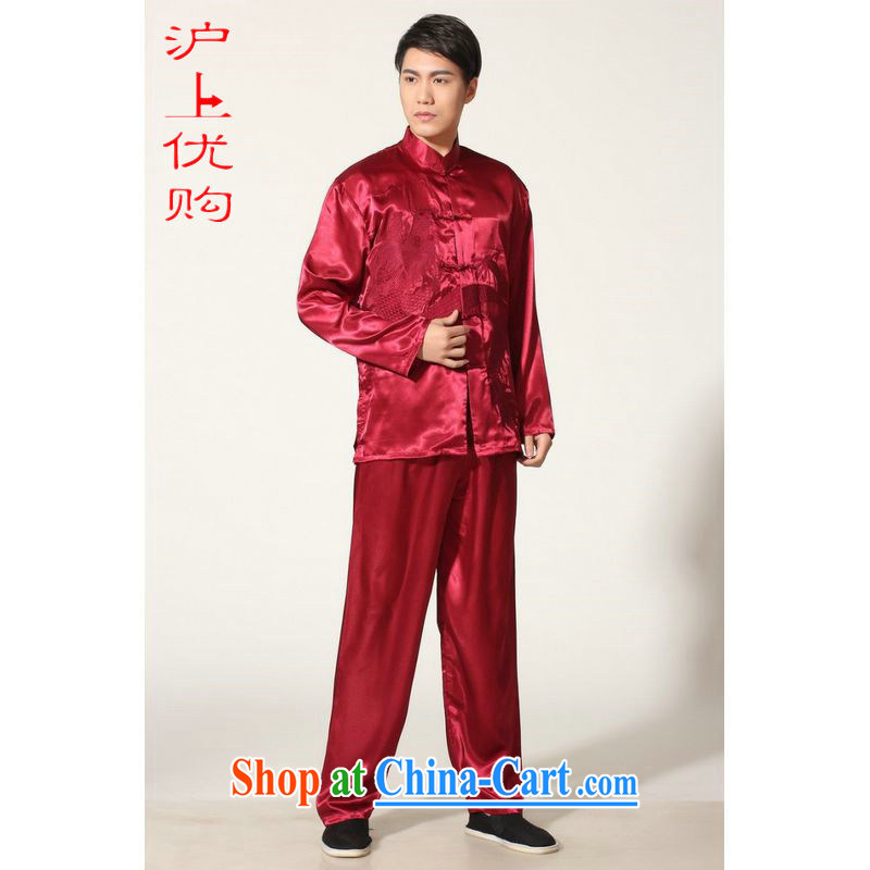 Shanghai, optimizing Pre-IPO Share Option Scheme, elderly Chinese men's Chinese improved, for silk embroidered Chinese dragon Tai Chi uniforms the code men's kung fu M 0013 wine red XXL recommendations 180 - 210 jack
