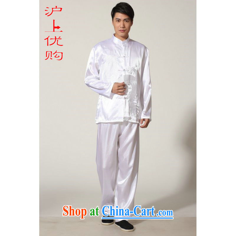 Shanghai, optimization options in older Chinese men and summer, for silk embroidered Chinese Dragon Chinese men's long-sleeved Kit larger male Falun Gong M 0010 white XXL recommendations 180 - 210 jack