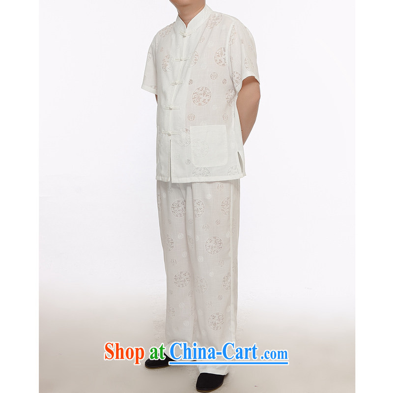 Men's short-sleeved Chinese cotton MA in older ethnic Han-chinese summer smock male and linen clothes round nylon case with white 175_2 XL