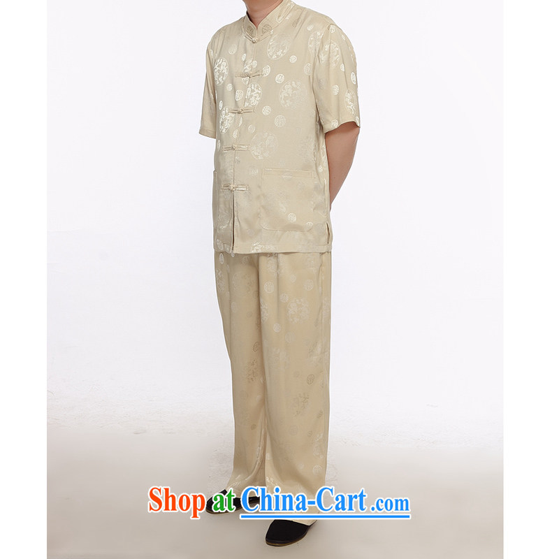 The chestnut mouse new summer men's short T-shirt with older persons in Chinese men's short-sleeve kit XL beige 175_2 XL
