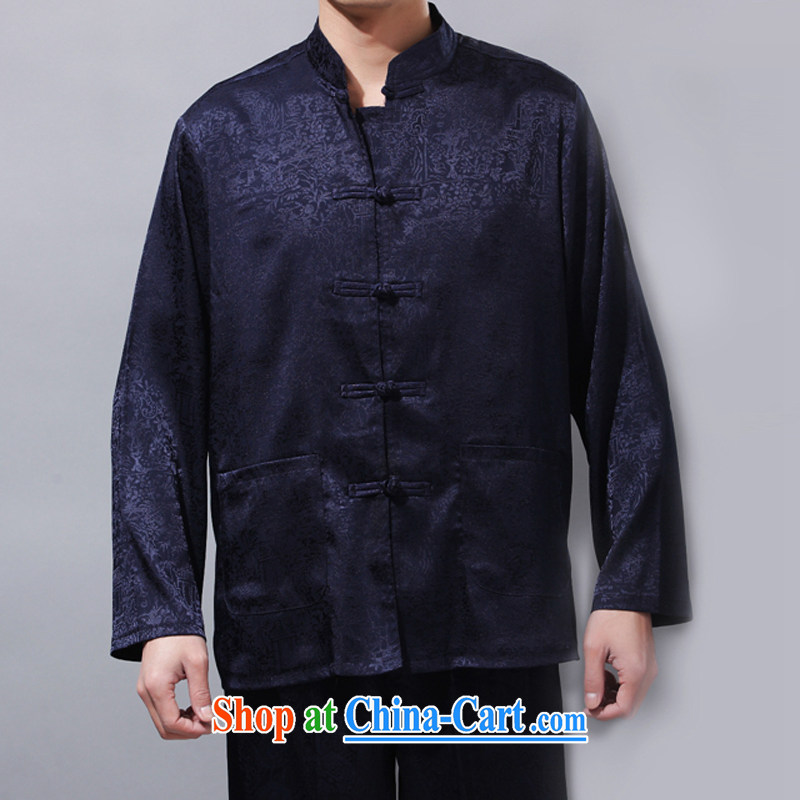 China wind men's Chinese Kit solid long-sleeved T-shirt, older leisure thin coat Chinese male Tai Chi Kit blue XXXL_190