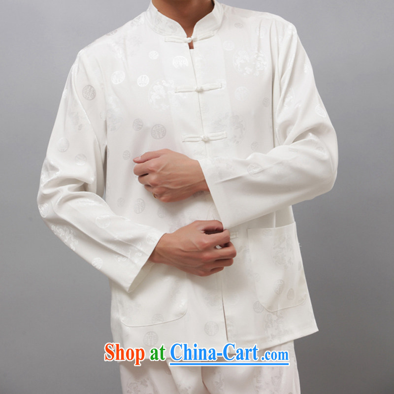 New thin long-sleeved Chinese men and the Nylon case with Chinese style of Kung Fu Tai Chi T-shirts in serving older men and the Nylon case with National wind long-sleeved Chinese, for kung fu T-shirt Kit white M_170