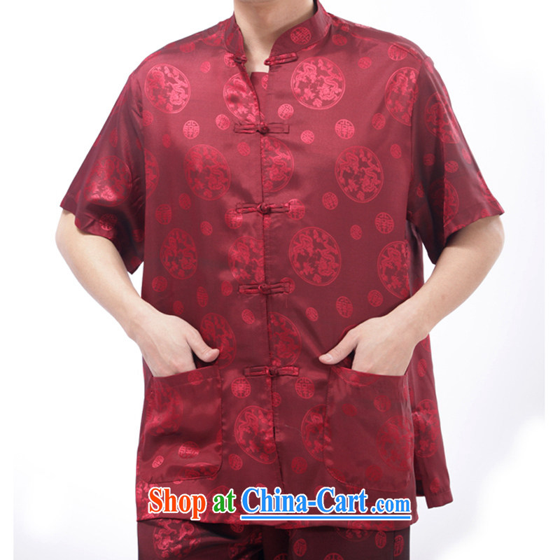 and mobile phone line summer men's Silk short-sleeved Tang is included in the kit old men, short-sleeved Kit ethnic wind men's hand-held in Kowloon short sleeve red XL/180