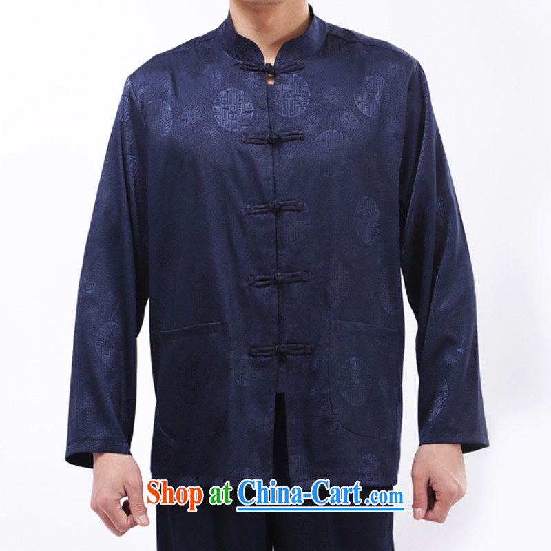 and mobile phone line, long-sleeved Chinese male Chinese Wind and Kung Fu T-shirt Tai Chi clothing spring and summer, older men and Tang package blue XXXL_190