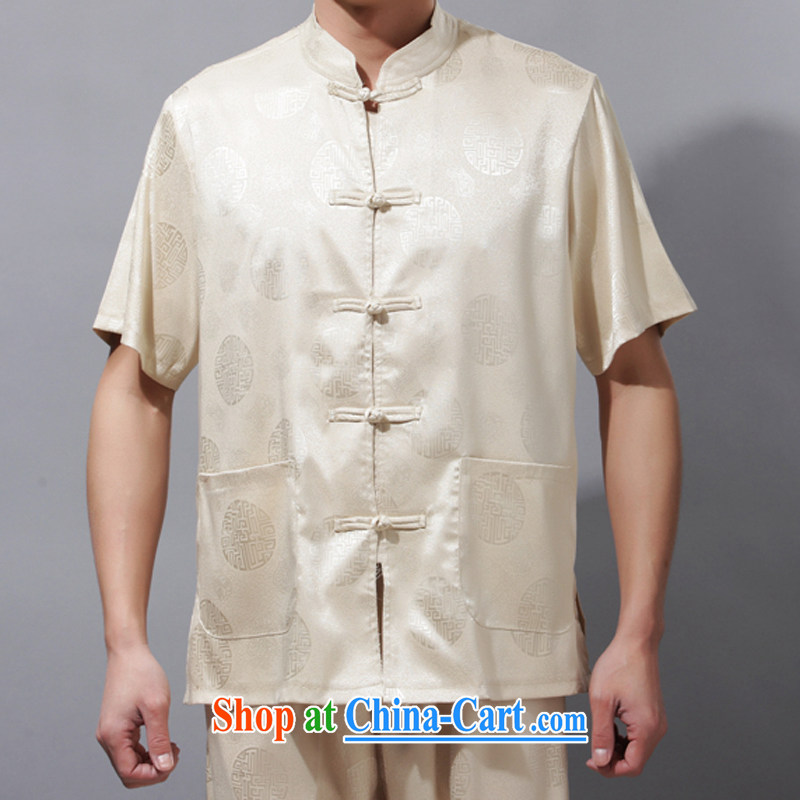 and mobile phone line, genuine Chinese men's casual summer short sleeve with Chinese men and Chinese, for Tai Chi Kit beige XXXL_190